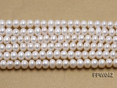 Wholesale 7x9mm White Flat Cultured Freshwater Pearl String FPW042 Image 1