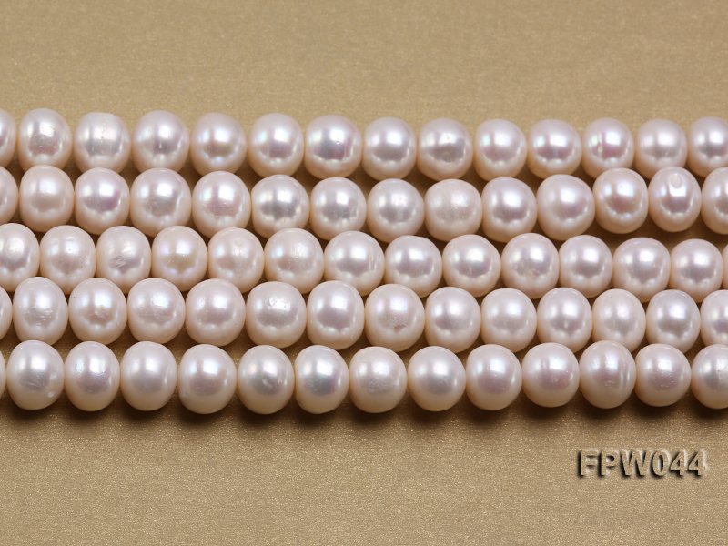 Wholesale 9.5x11.5mm High-quality White Flat Cultured Freshwater Pearl String big Image 1