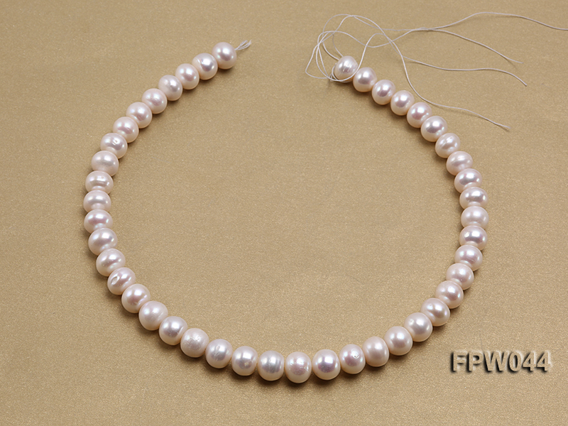 Wholesale 9.5x11.5mm High-quality White Flat Cultured Freshwater Pearl String big Image 3