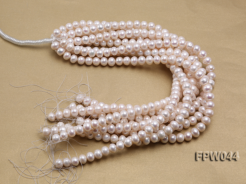 Wholesale 9.5x11.5mm High-quality White Flat Cultured Freshwater Pearl String big Image 4