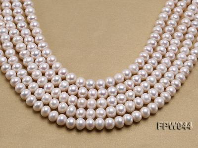 Wholesale 9.5x11.5mm High-quality White Flat Cultured Freshwater Pearl String FPW044 Image 2