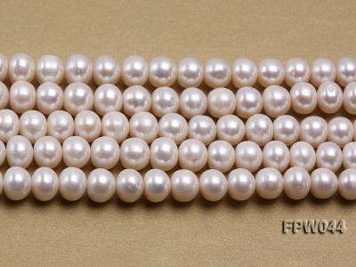 Wholesale 9.5x11.5mm High-quality White Flat Cultured Freshwater Pearl String FPW044 Image 1