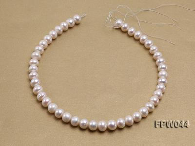 Wholesale 9.5x11.5mm High-quality White Flat Cultured Freshwater Pearl String FPW044 Image 3