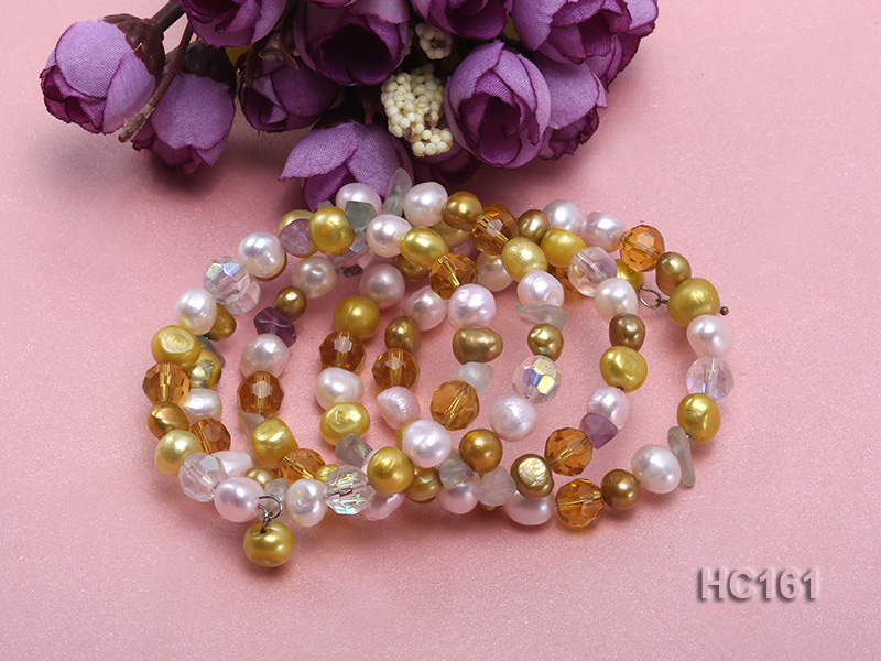 5 strand colorful freshwater pearl and crystal bracelet big Image 2