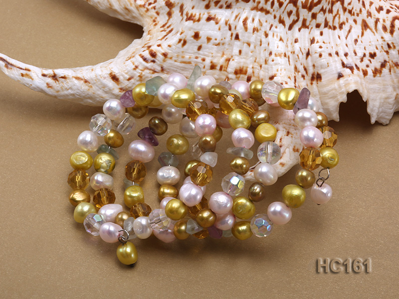 5 strand colorful freshwater pearl and crystal bracelet big Image 3