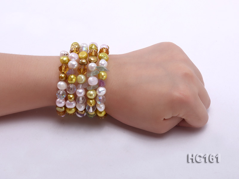 5 strand colorful freshwater pearl and crystal bracelet big Image 4