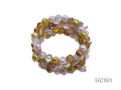 5 strand colorful freshwater pearl and crystal bracelet HC161 Image 1