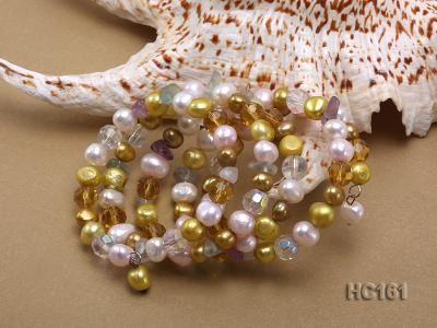 5 strand colorful freshwater pearl and crystal bracelet HC161 Image 3