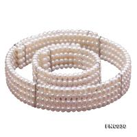 Four-row 6mm White Freshwater Pearl Choker Necklace and Bracelet Set FNC030