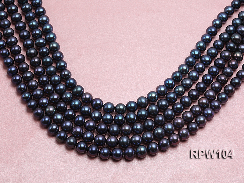 Wholesale High-quality AA-grade 10-11mm Black Round Freshwater Pearl String  big Image 1