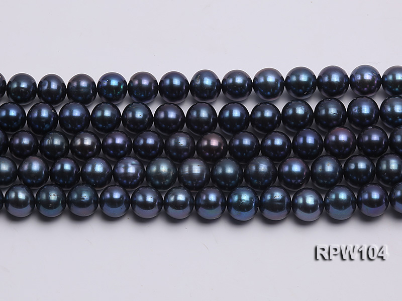Wholesale High-quality AA-grade 10-11mm Black Round Freshwater Pearl String  big Image 2
