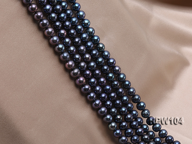 Wholesale High-quality AA-grade 10-11mm Black Round Freshwater Pearl String  big Image 3