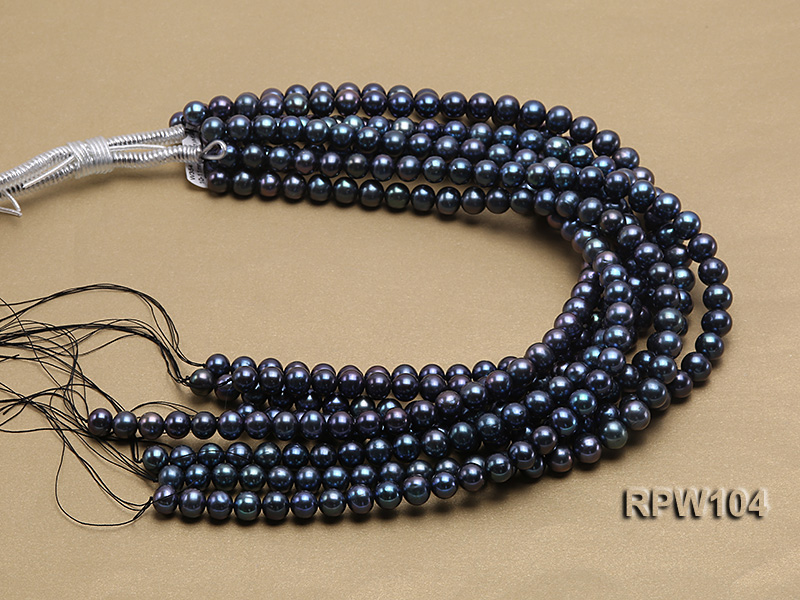 Wholesale High-quality AA-grade 10-11mm Black Round Freshwater Pearl String  big Image 4