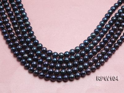 Wholesale High-quality AA-grade 10-11mm Black Round Freshwater Pearl String  RPW104 Image 1