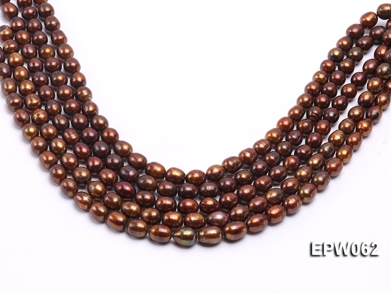 Wholesale 9x11mm Brown Rice-shaped Freshwater Pearl String big Image 2