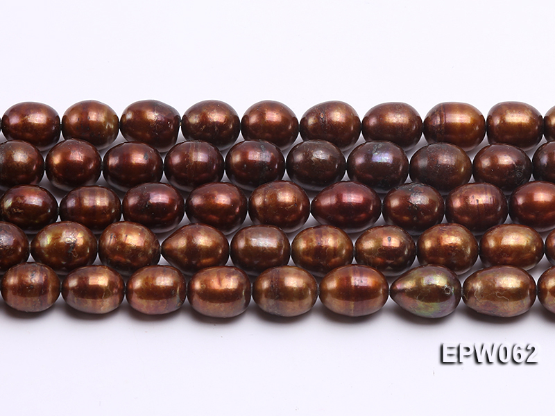 Wholesale 9x11mm Brown Rice-shaped Freshwater Pearl String big Image 1