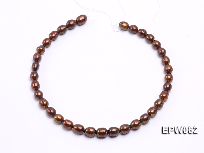 Wholesale 9x11mm Brown Rice-shaped Freshwater Pearl String big Image 3