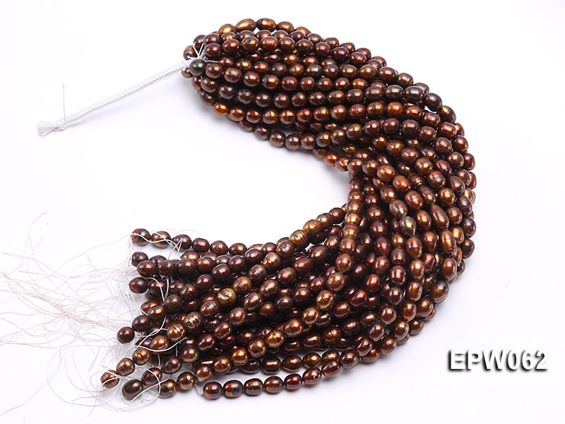 Wholesale 9x11mm Brown Rice-shaped Freshwater Pearl String big Image 4