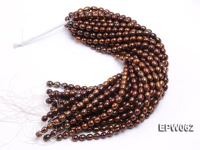 Wholesale 9x11mm Brown Rice-shaped Freshwater Pearl String EPW062 Image 4