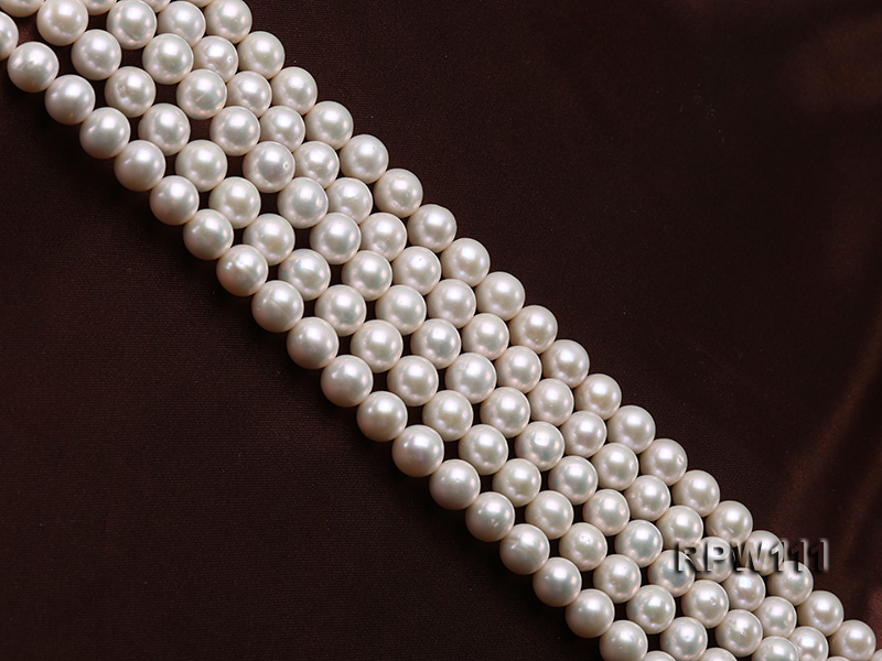 Super High-quality 10-11mm Classic White Round Freshwater Pearl String big Image 3