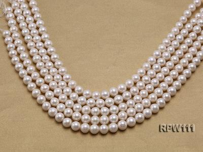 Super High-quality 10-11mm Classic White Round Freshwater Pearl String RPW111 Image 1