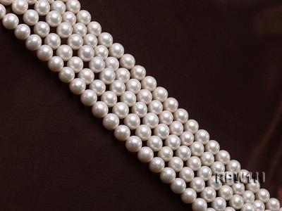 Super High-quality 10-11mm Classic White Round Freshwater Pearl String RPW111 Image 3