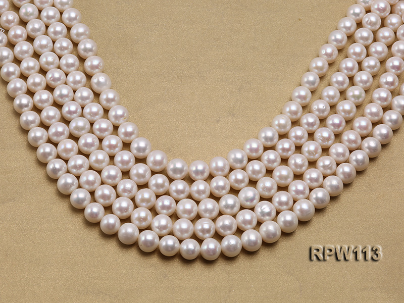 Wholesale 10mm Classic White Round Freshwater Pearl String big Image 1