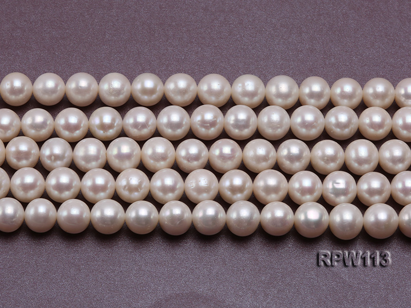 Wholesale 10mm Classic White Round Freshwater Pearl String big Image 2