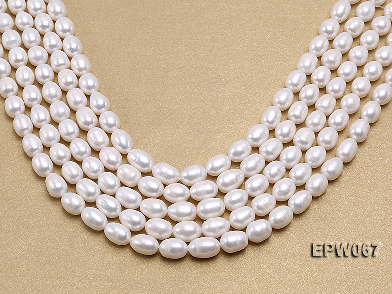 Wholesale 9.5x13mm Classic White Rice-shaped Freshwater Pearl String big Image 1