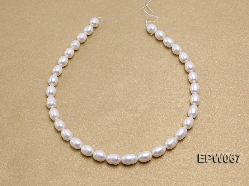 Wholesale 9.5x13mm Classic White Rice-shaped Freshwater Pearl String big Image 3