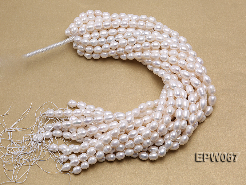 Wholesale 9.5x13mm Classic White Rice-shaped Freshwater Pearl String big Image 4