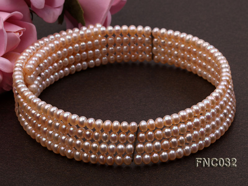Four-row 5mm Pink Freshwater Pearl Choker Necklace and Bracelet Set big Image 4
