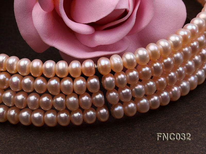 Four-row 5mm Pink Freshwater Pearl Choker Necklace and Bracelet Set big Image 5