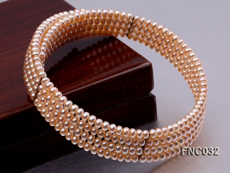 Four-row 5mm Pink Freshwater Pearl Choker Necklace and Bracelet Set big Image 7