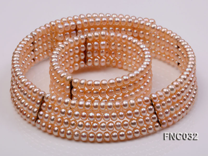 Four-row 5mm Pink Freshwater Pearl Choker Necklace and Bracelet Set big Image 1