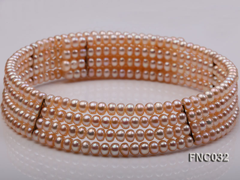 Four-row 5mm Pink Freshwater Pearl Choker Necklace and Bracelet Set big Image 8