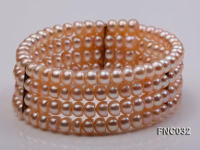 Four-row 5mm Pink Freshwater Pearl Choker Necklace and Bracelet Set FNC032 Image 2