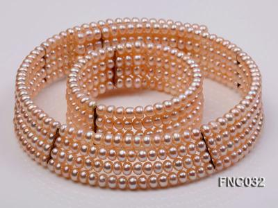Four-row 5mm Pink Freshwater Pearl Choker Necklace and Bracelet Set FNC032 Image 1