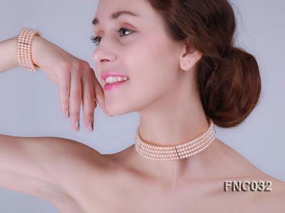 Four-row 5mm Pink Freshwater Pearl Choker Necklace and Bracelet Set FNC032 Image 10