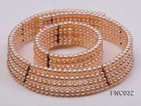 Four-row 6mm Pink Freshwater Pearl Choker Necklace and Bracelet Set FNC032