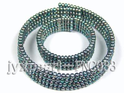 Four-row 5mm Peacock Green Freshwater Pearl Choker Necklace and Bracelet Set FNC033 Image 1