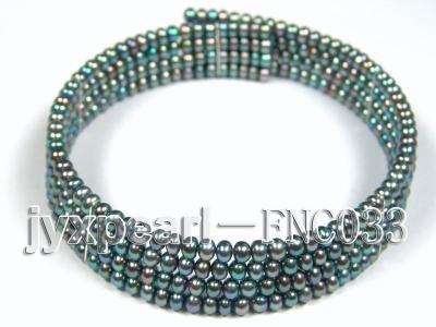 Four-row 5mm Peacock Green Freshwater Pearl Choker Necklace and Bracelet Set FNC033 Image 2