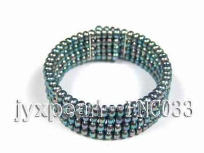 Four-row 5mm Peacock Green Freshwater Pearl Choker Necklace and Bracelet Set FNC033 Image 3