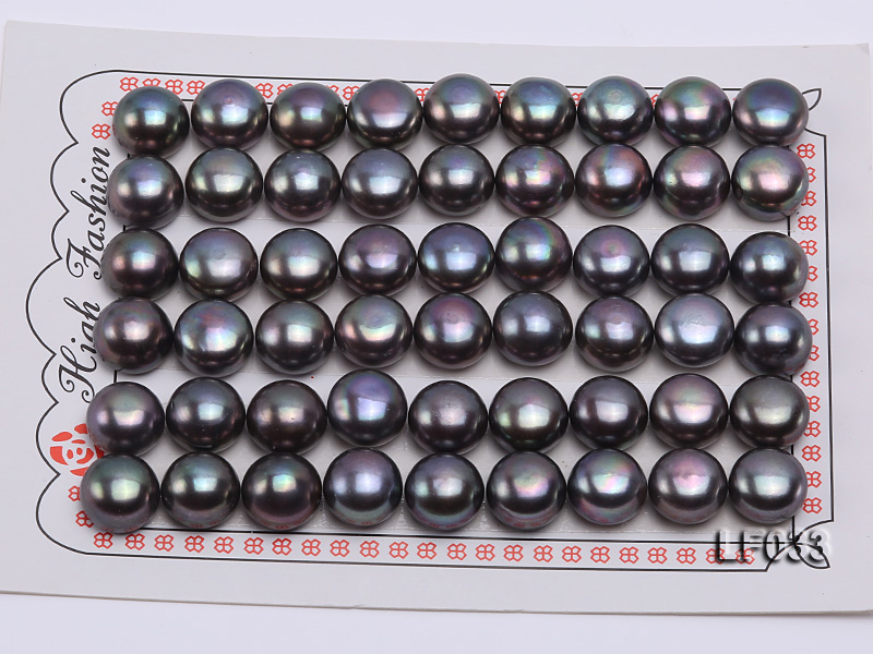 Wholesale Cards of 10-10.5mm Black Flat Freshwater Pearls---27 Pairs big Image 1