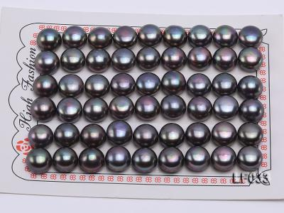 Wholesale Cards of 10-10.5mm Black Flat Freshwater Pearls---27 Pairs LF033 Image 1
