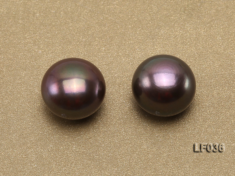 Wholesale Cards of 11-12mm Black Flat Freshwater Pearls---16 Pairs big Image 4