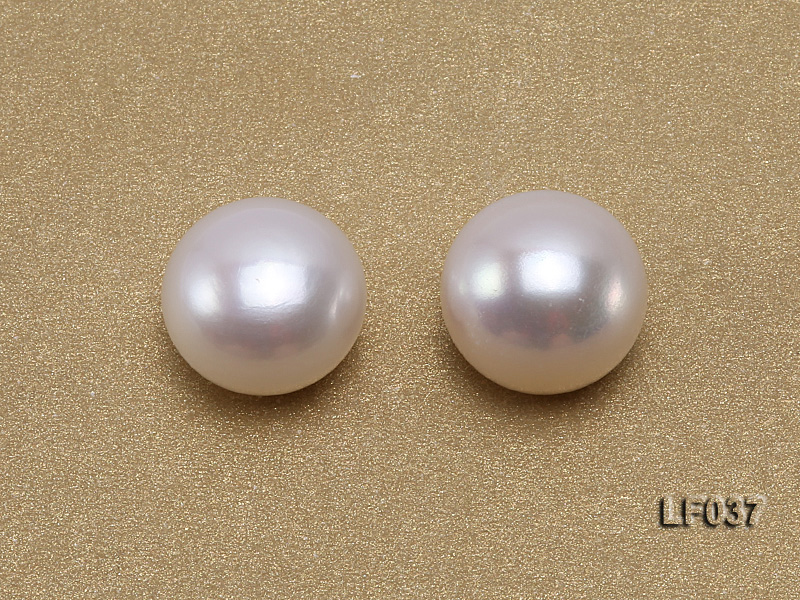 Wholesale Cards of 11mm Classic White Flat Freshwater Pearls---16 Pairs big Image 2