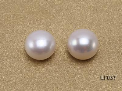 Wholesale Cards of 11mm Classic White Flat Freshwater Pearls---16 Pairs LF037 Image 2