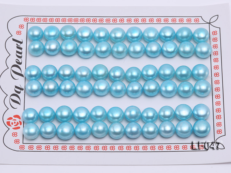 Wholesale Cards of 8.5-9mm Blue Flat Freshwater Pearls---33 Pairs big Image 1