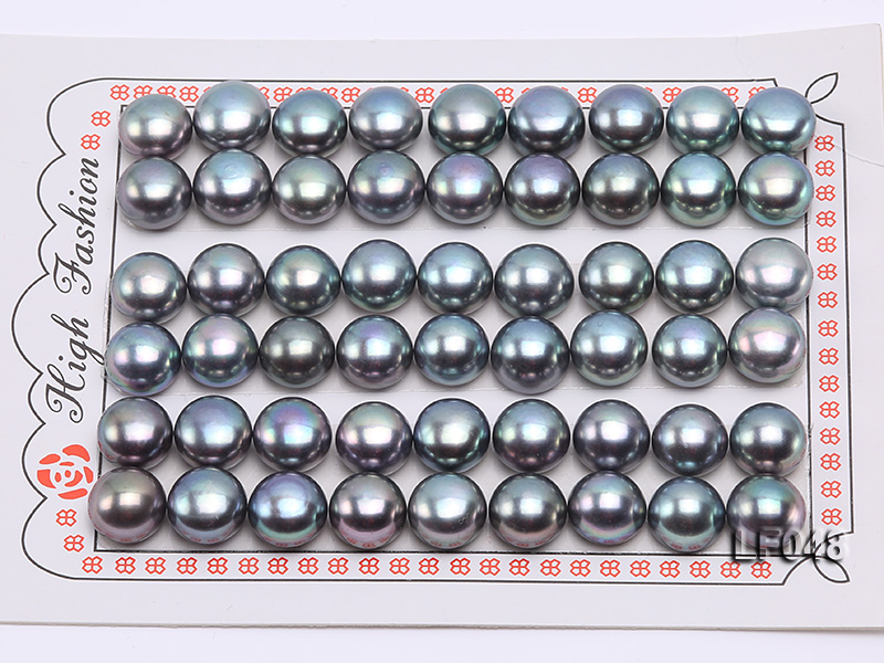 Wholesale Cards of 9.5-10mm Black Flat Freshwater Pearls---27 Pairs big Image 1